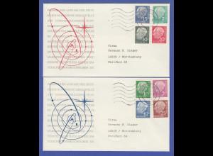 Bundesrepublik Heuss lumogen 8 Werte kpl. Satz auf 2 Briefen O Darmstadt 1961