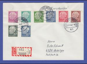 Bundesrepublik Heuss lumogen 8 Werte kpl. Satz auf R-Brief O Darmstadt 1962