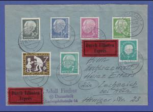 Bundesrepublik Heuss lumogen 5 Werte u.a. # 259y auf Eil-Brief O Darmstadt 1961