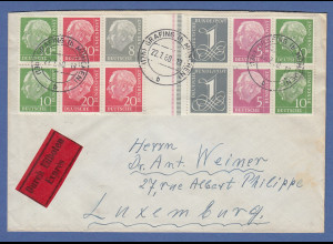 Heuss lieg. Wz Zusammendruck WZ 15 / 16 a IV YII auf Eil-Brief nach Luxemburg