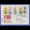 Berlin Blumen 1975 kpl. Ausgabe auf R-Brief von Berlin nach Dänemark