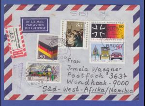 Bund 1986 Luftpost-R-Brief mit Sondermarken von Neuendetelsau -> SWA / Namibia