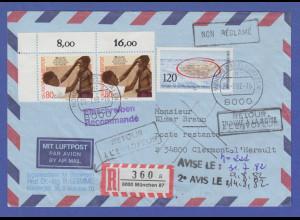 Bund 1982 R-Brief gelaufen nach Frankreich, unzustellbar, zurück... Interessant