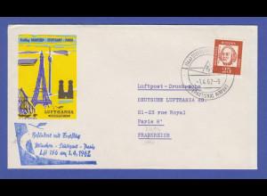 Bund 25 Pfg. Bed. Deutsche als EF auf Luftpost-Drucksache nach Frankreich 1962