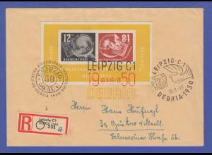 DDR Debria-Block Mi.-Nr. Block 7 auf R-Brief gel. von Leipzig nach Güstrow