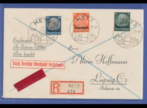 Dt. Besetzung 2. WK, Lothringen, Deutsche Dienstpost, R-Express-Brief aus Metz