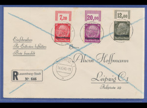 Dt. Besetzung 2. WK, Luxemburg, portogerechter R-Express-Brief, Oberrand-Stücke
