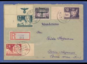 Generalgouvernement, Satz Mi.-Nr. 56-58 auf R-Brief von Biecz nach Berlin