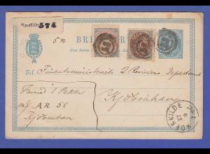 Dänemark Ganzsache mit Zusatzfrankatur, gel. von Roskilde n. Kopenhagen, um 1880