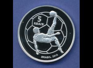 Brasilien, 5 Reais Silbermünze zur FIFA Fussball-WM Brasilien 2014 PP
