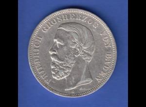 Deutsches Kaiserreich Baden Friedrich I. Silbermünze 5 Mark 1901 G