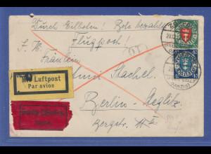 Danzig, Mi.-Nr. 198 und 199 auf Eil-Luftpostbrief nach Berlin, Zoppot 28.12.27