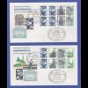 Berlin Sehenswürdigkeiten HBL 22 und 23 mit Sonder-O auf 2 FD-Briefen 13.7.89