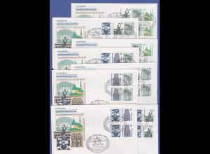 Berlin Sehenswürdigkeiten 16 Zusammendrucke auf 8 FD-Briefen, Sonder-O 13.7.89