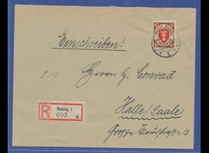 Danzig, Mi.-Nr. 243 Einzelfrankatur auf R-Brief von Danzig nach Halle. 1935