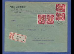 Danzig, Mi.-Nr. 196xa Mehrfachfrankatur auf R-Brief von Danzig nach Basel, 1924