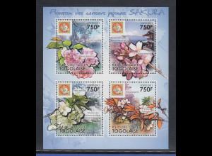 Togo 2011 Mi.-Nr. 4064-67 Kleinbogen ** Kirschblüte in Japan
