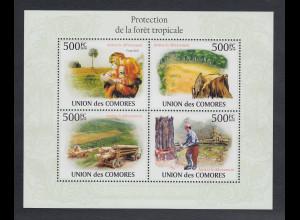 Komoren 2010 Mi.-Nr. 2732-35 Kleinbogen ** Schutz der Tropenwälder