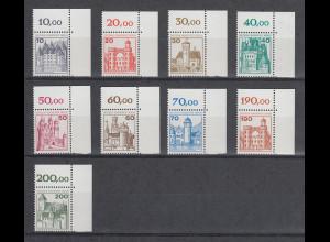 Berlin Burgen & Schlösser 1.Tranche Mi.-Nr. 532-540 ** Eckrandstücke oben rechts