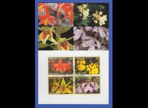 UNO Genf 2005 Orchideen Mi.-Nr. 510-513 mit Ersttagsstempel auf Maximumkarte