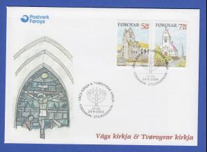 Färöer-Inseln 2004 Mi.-Nr. 511-12 Kirchen Vagur und Tvoroyri auf FDC