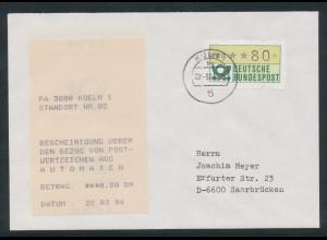 Bundesrepublik ATM: FDC erster MWZD 2. Gen. mit Quittung Köln1 vom 22.3.84