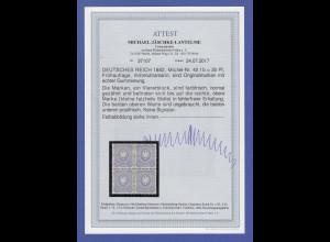 Deutsches Reich 20 Pfennig Frühauflage, Mi.-Nr. 42 I b Viererblock */** Attest