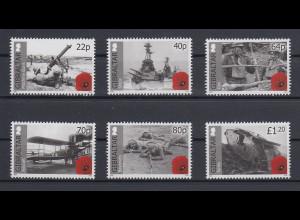 Gibraltar 2015 Mi.-Nr. 1669-74 Satz 6 Werte 100 Jahre Erster Weltkrieg (II)