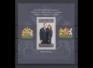 Gibraltar 2016 Mi.-Nr. Block 125 5 Jahre Ehe Prinz William Catherine Middleton