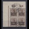 Bayern, Germania mit Aufdruck Mi.-Nr. 137 Eckrand-4er-Block gest. MICHELAU
