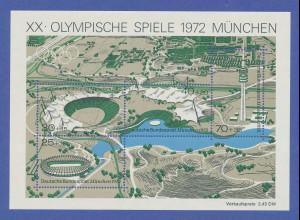 Olympische Spiele München 1972. Blockausgabe Olympiagelände postfrisch **