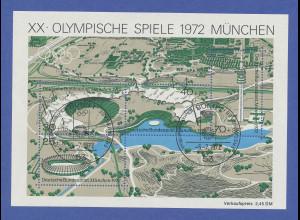 Olympische Spiele München 1972. Blockausgabe Olympiagelände mit Ersttagsstempel