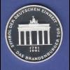 Bundesrepublik 10DM Silber-Gedenkmünze 1991 Brandenburger Tor Berlin PP
