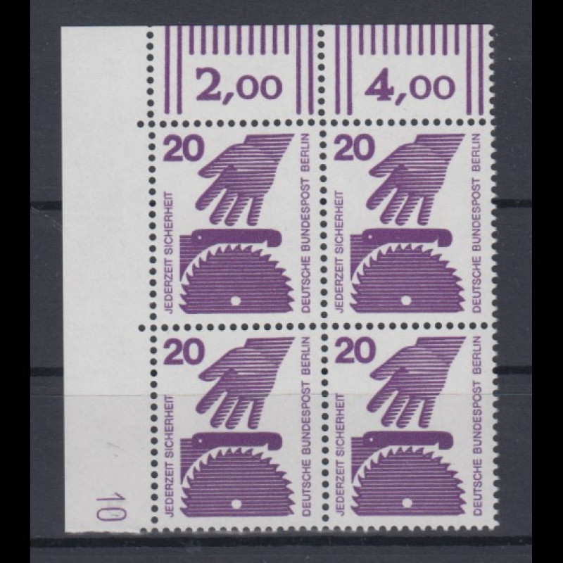 Berlin Unfall 20 Pfg Wert Eckrand Viererblock Ol Mit Druckerzeichen