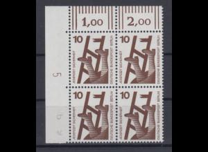 Berlin Unfall 10 Pfg.-Wert ECKRAND-Viererblock OL mit Druckerzeichen 5 **
