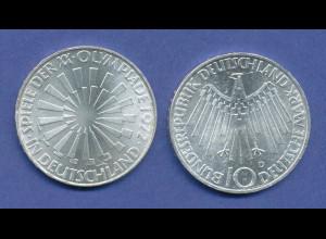 Olympische Spiele 1972, 10DM Silber-Gedenkmünze Spirale DEUTSCHLAND - D