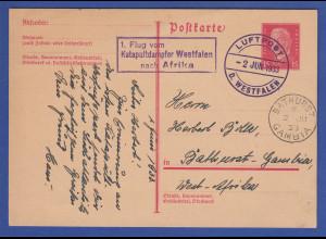 Deutsches Reich 1. Flug vom Katapult-Dampfer Westfalen nach Afrika, sehr selten