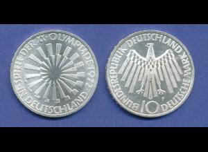 Olympische Spiele 1972, 10DM Silber-Gedenkmünze Spirale DEUTSCHLAND - F