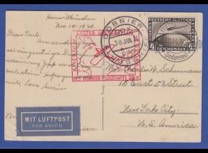 Deutsches Reich DO X Flugpostkarte 1931 gel. nach New York, EF Mi.-Nr. 424