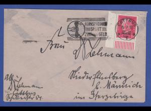 Deutsches Reich Rheinland-Abzug Mi.-Nr. 445 Eckrandstück auf Brief, O Cottbus