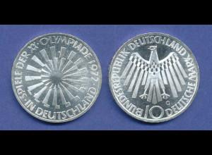 Olympische Spiele 1972, 10DM Silber-Gedenkmünze Spirale DEUTSCHLAND - G