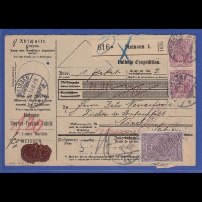 Deutsches Reich Germania Mi.-Nr. 92 I 2 Stück als MEF auf Paketkarte, O Meissen