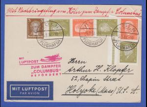 Dt. Reich Flugpost-Beleg Nachbringflug zum Dampfer COLUMBUS 1932, bessere ZSD !