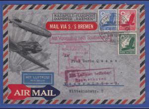 Dt. Reich Katapult-Flugpostbrief vom Dampfer BREMEN Vorausflug Southampton 1934