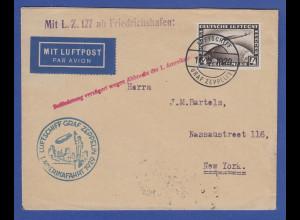 Dt. Reich Zeppelin-Brief Amerikafahrt 1929 Bordpost n. NY verzögert wg. Abbruch