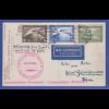 Dt. Reich Zeppelin-Postkarte Weltrundfahrt 1929 ganze Strecke, Frankatur 7RM