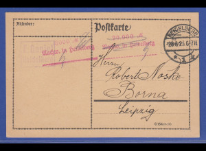 Deutsches Reich Inflation Postkarte aus Heidelberg vom 28.9.23 Barfreimachung