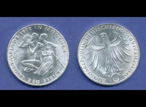 Olympische Spiele 1972, 10DM Silber-Gedenkmünze Sportler-Paar - D