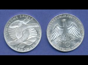 Olympische Spiele 1972, 10DM Silber-Gedenkmünze Verschlungene Arme - D