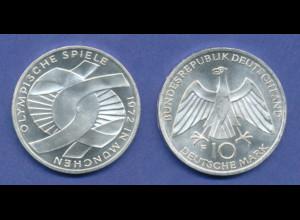 Olympische Spiele 1972, 10DM Silber-Gedenkmünze Verschlungene Arme - F